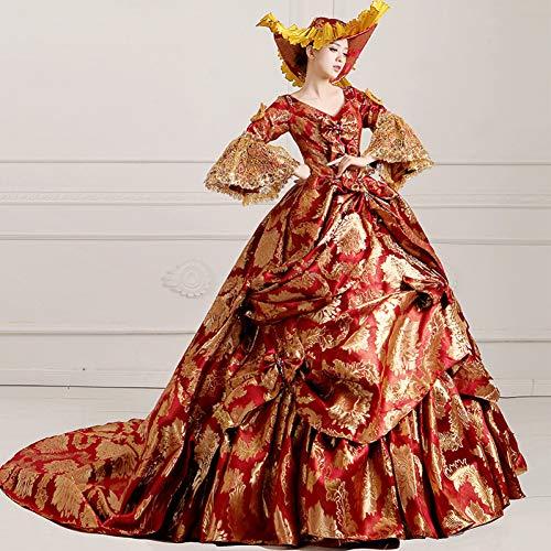 QAQBDBCKL NatürlichesGerichtskleid Aus Dem18. JahrhundertElegantes Marie Antoinette Barockkleidkleid Halloween Make Up Partykleid Marie Antoinette Make-up