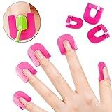 #8: LQZ Nail Art Beauty 10 Sizes 26Pcs Glue Model Spill Proof Manicure Protector Tools Make Your Finger More Perfect Nail Polish Glue Model