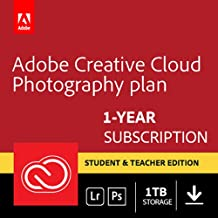 Adobe Creative Cloud Photography plan with 1TB Student Teacher Edition: Photoshop CC + Lightroom CC | 1 Year Licence | PC/Mac | Online Code & Download