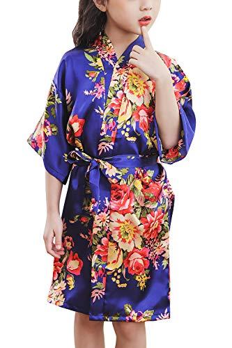 hen Morgenmantel Kimono Satin Nachtwäsche Bademantel Robe Pfingstrose Blume Negligee Schlafanzug Schwimmen Hochzeit Geburtstag (Größe 12 für Höhe 130-145CM (51
