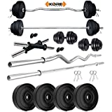 """Kore PVC 12 Kg Combo Home Gym Kit with Gym Rods + 2 x 14"""" Dumbbell Rods"""