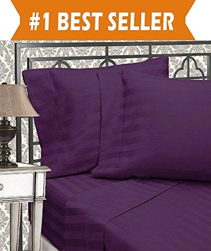 Eleganten Komfort Best, Weichsten, coziest 6Tabelle Sets.–1500Fadenzahl Ägyptische Qualität Luxuriöse knitterfrei 6Damast Streifen Bed Sheet Set, California King aubergine/violett -