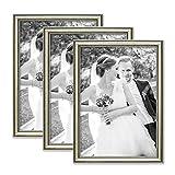 Photolini 3er Set Bilderrahmen Silber Barock Antik 21x30 cm Din A4 Fotorahmen mit Glasscheibe/Kunststoffrahmen