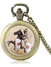 Personalidad Caballero Templario Cruz Bolsillo Reloj Vintage Hombres Mujeres Caballo Colgante Bronce Collar Joyería Antigua