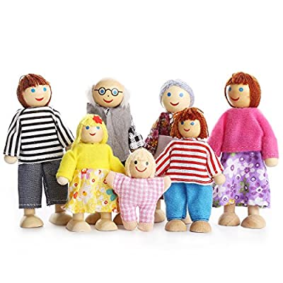 Kids Girls Lovely Happy Family Dolls Playset Wooden Figures Set of 7 People for Children House Pretend Gift