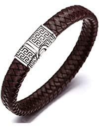"Halukakah ● Solo ● Men's Genuine Brown Leather Bracelet Titanium Clasp with Magnets 8.46""(21.5cm) with Free Giftbox"