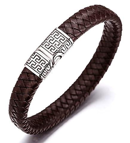 Halukakah «SOLO» :Le Bracelet de l'homme en Cuir Véritable avec les Bouttons Titané et Magnétique ,8.46