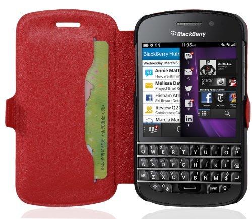 Cadorabo Hülle für Blackberry Q10 - Hülle in ICY ROT – Handyhülle mit Standfunktion und Kartenfach im Ultra Slim Design - Case Cover Schutzhülle Etui Tasche Book