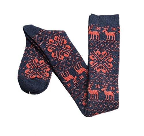 Damen Kostüme Hohe Knie (ECHERY Frauen Mädchen Weihnachten Schnee Rotwild Knit Über Knie Socken Winter Kostüm Schenkel Hohe Strümpfe)
