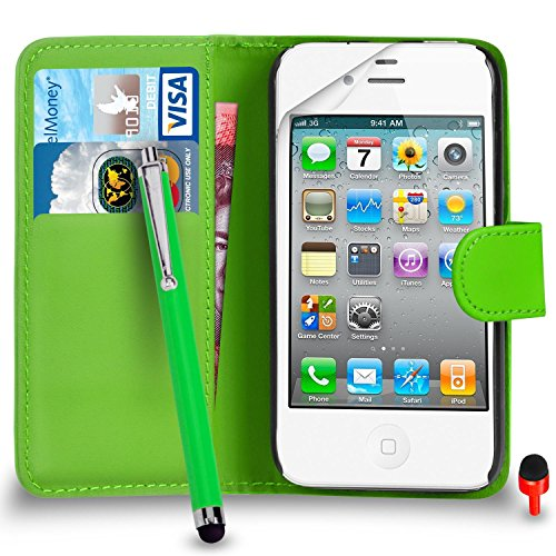 Apple iPhone 4 / 4S PACK 7 Haute Qualité capacitif Big tactile Stylet SVL2 PAR SHUKAN®, (BIG STYLUS PACK 7) Portefeuille VERT