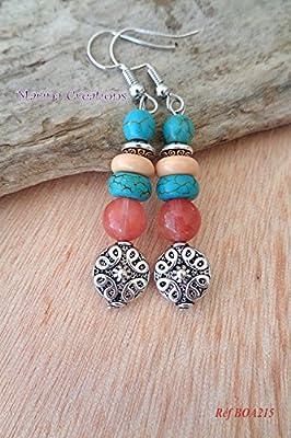 Boucles d'oreilles crochets acier inoxydable, jade rose corail, howlite turquoise et perles beige rosé