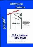 pripa Etikettenformat 105 x 148, 200 Blatt DIN A4 selbstklebende Etiketten in = 800 Etiketten pro Packet