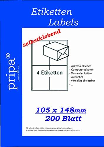Blatt Volle Avery Etiketten (pripa Etikettenformat 105 x 148, 200 Blatt DIN A4 selbstklebende Etiketten in = 800 Etiketten pro Packet)