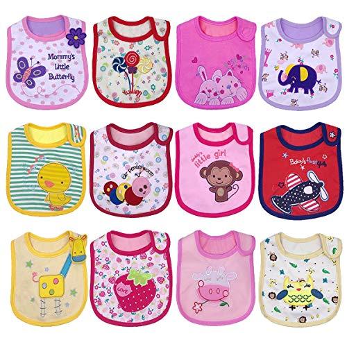 Yafane Lot de 12 Bavoirs Bébé Imperméables Coton Bandana pour Enfant Bébé Fille 0 à 36 mois