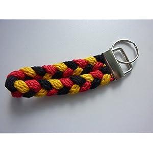 1 Schlüsselanhänger Schlüsselband in schwarz rot gelb (gold) aus Strickliesel-Schnüren