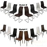Esszimmerstuhl - Farbe wählbar - Freischwinger 2/4/6 Stück Küchenstuhl Schwingstuhl Chrom (2x Stuhl Modell 1, Weiß)