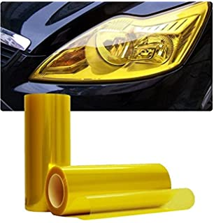 Self Adhesive Shiny Chameleon Headlights Tail Lights Fog Lights Films,Film Sheet Sticker,Tint Vinyl Film Car Headlight Sticker 30 * 120CM-Yellow