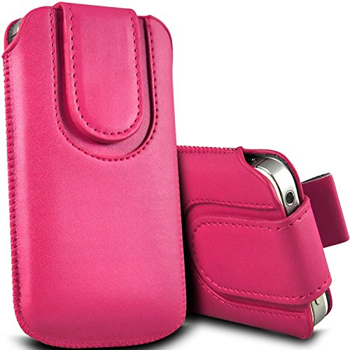 Brun/Brown - HTC Desire 320 Housse et étui de protection en cuir PU de qualité supérieure à cordon avec fermeture par bouton magnétique et stylet tactile pour par Gadget Giant® Rose Baby