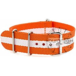 BURAN01 Military Nylon Watch Strap Orange/White 20 mm Watch Strap