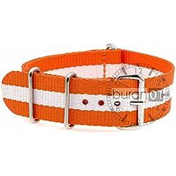GENUINE BURAN01Military Nylon Watch Strap Orange/White 22mm Watch Strap