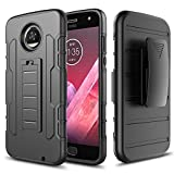 #8: Ziaon Heavy Duty Robot Black Rugged Impact Armor Hybrid Kickstand Cover with Belt Clip Holster Case For Moto Z2 Play - Black