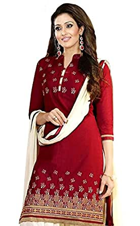Janasya Women's Polyester Dress Material (JNE0943-RED-DR-BANNO.A_Red)