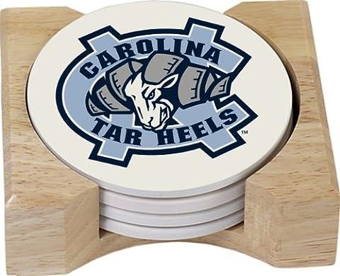 NCAA North Carolina Tar Heels saugfähig Untersetzer Geschenk-Set mit vier Stück Butcher Block Halter