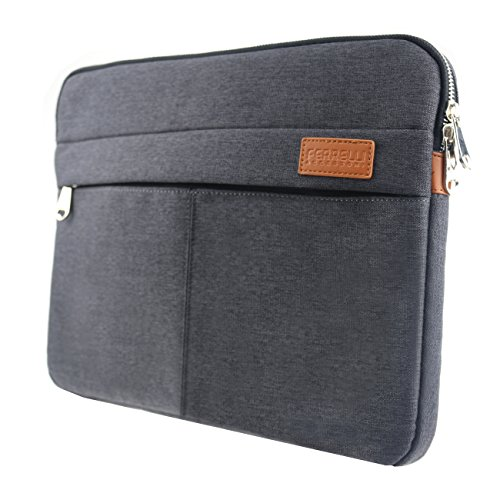 MapleStory Notebook-Tasche für Notebook/Laptop bis 14 Zoll Hülle aus Robustem Nylon - 2 Zubehörfächer und verstärkte Polsterwände schmutz- und wasserabweisend - Grau -