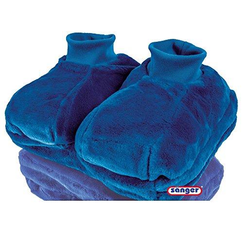 Fußwärmer aus Plüsch mit 2,0 L Wärmeflasche, Fußwärmflasche, Wärmetherapie, blau