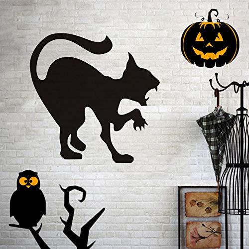 Wandtattoo kinderzimmer aufkleber kinder tieren küchen wanddeko Unheimlich Scary Black Cat Wandaufkleber Halloween Vinyl Zischen Katze Wandkunst Poster Home Decoration Zubehör