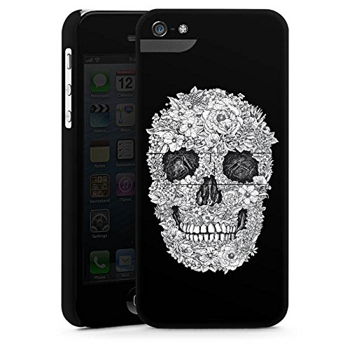 Apple iPhone 8 Tasche Hülle Flip Case Totenkopf Skull Blumen Premium Case StandUp