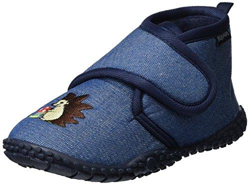 Playshoes Kinder Hausschuhe mit praktischem Klettverschluss, niedliche Hüttenschuhe für Mädchen und Jungen, mit Igel-Motiv