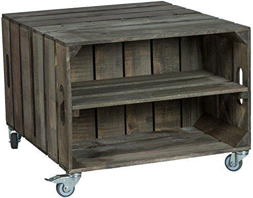 60 X 54 X 42cm Couchtisch Abstelltisch Couch Tisch Weinkiste Holzkiste  Regal Obstkiste Regaltisch Wohnzimmertisch (Dunkel Mit Einlage)