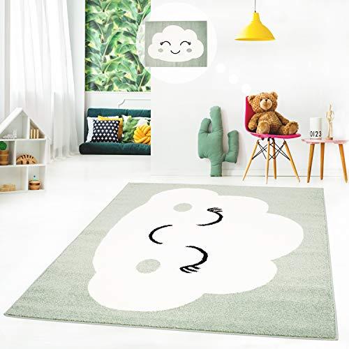 ich Teppich Flachflor Spielzimmerteppich mit fröhlicher Wolke Motiv in Mint Grün, Petrol-Blau, Beige und Rosa, Größe in cm:120 x 160 cm, Farbe:Grün ()