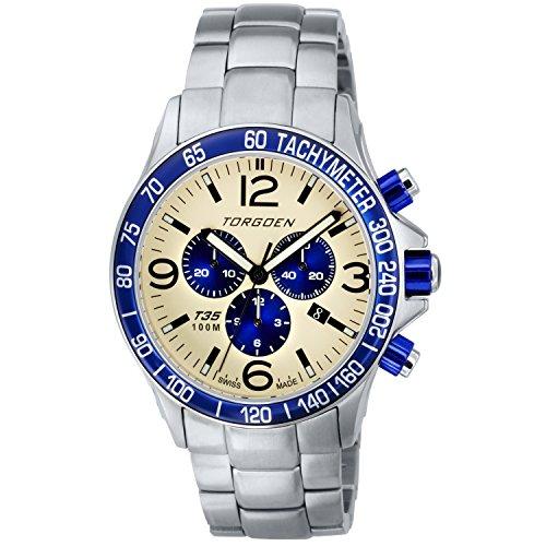 TORGOEN Swiss  T35203 - Reloj de cuarzo para hombre, con correa de acero inoxidable, color plateado