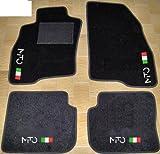 Tappeti per Auto Neri, set completo di Tappetini in Moquette su Misura con Ricamo a Filo Bandiera Italiana