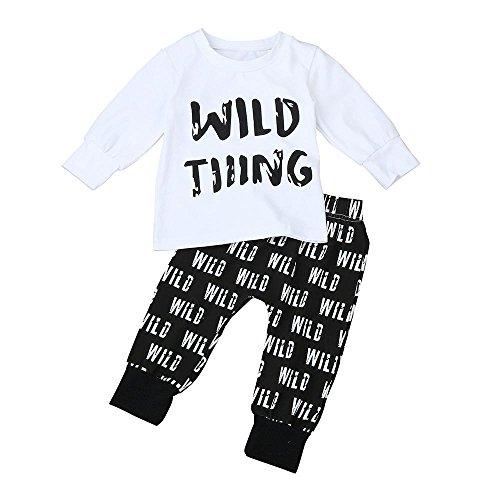 Hirolan Kleinkind Kids Baby Jungs Kleidung Kleidung Schreiben drucken Tops T-Shirt + Long Pants (100cm, (White Outfits Jungs Für Party)