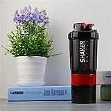 NBKMC Apilable Botella de la Coctelera Para Mezclas de Proteínas, BPA a Prueba de Fugas y Gimnasios de Boca ancha de Plástico sin Ftalatos Copa Deportiva de Deportes con Mezclador - rojo