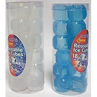 2x Paquetes de reutilizable rápida congelación cubitos de hielo cubitos de 36en total, color azul y blanco