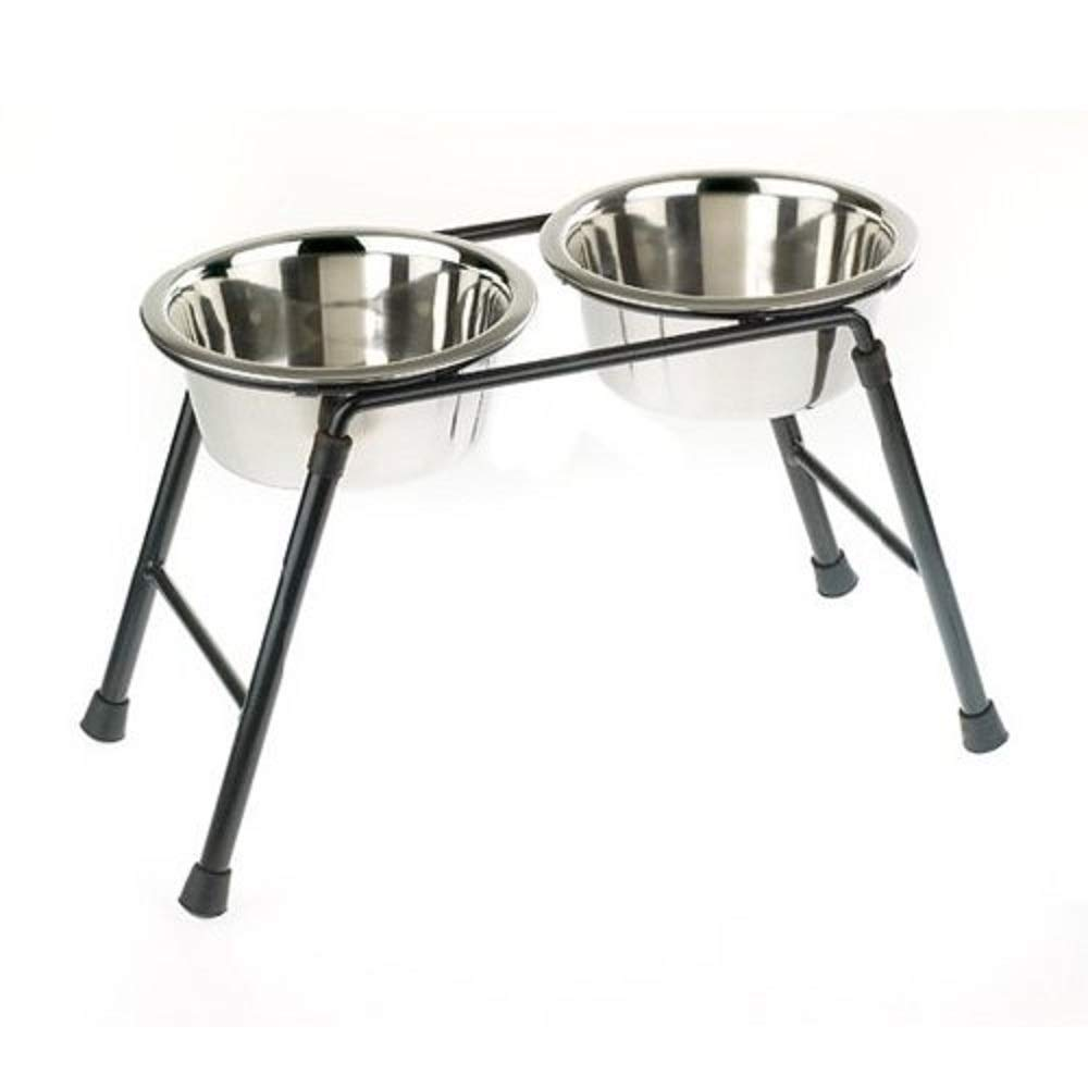 Classic Pet Products Double Feeder High Stand with 2 x 900 ml Stainless Steel Dishes, 220 mm Tall