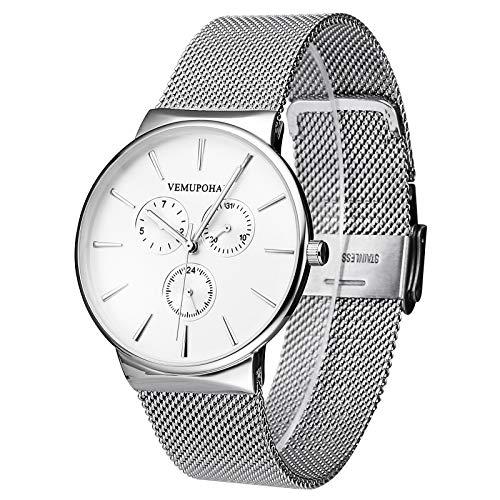 Vemupohal Herren Wasserdicht Analog Quarz Uhren Edelstahl Mesh Armband Kleid Uhr für Herren Fashion Casual Business Design Armbanduhr (Silber)