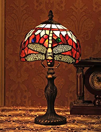 Farbige Glas-tisch-lampen (8-Zoll-europäischen Vintage-Stil Glasmalerei Libelle und Perle Warm Farbige Serie Tischlampe Schreibtischlampe Nachttischlampe)