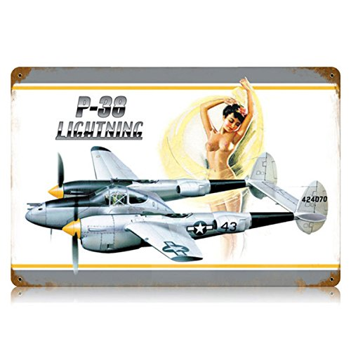 P-38 Lightning-Nude Pinup Modell Military Vintage Metall Schild 18 x 12 Stahl Nicht Dose