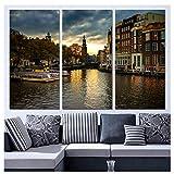 Dayanzai 3 Paneles De Arte De La Lona Amsterdam House Canal Decoración Para El Hogar Arte De La Pared Pintura Lienzo Impresiones Cuadros Para La Sala De Estar Cartel 40X80Cmx3Pcs Sin Marco