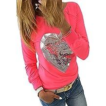 Hibote Mujeres Manga Larga Camisetas - Elegante Cuello Redondo Algodón Shirt Lentejuelas Patrón de Corazón Blusa Casual Camisa Tops Para Primavera Otoño Tallas Grandes