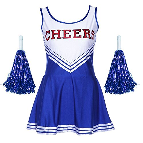 Frauen High School Musical Cosplay Cheerleading Kostüm Mädchen Halloween Kostüm Klassische Cheerleader Athletic Sport Uniform Mini Rock Karneval Kostüm Outfit mit Pompons (Halloween High School Kostüm)