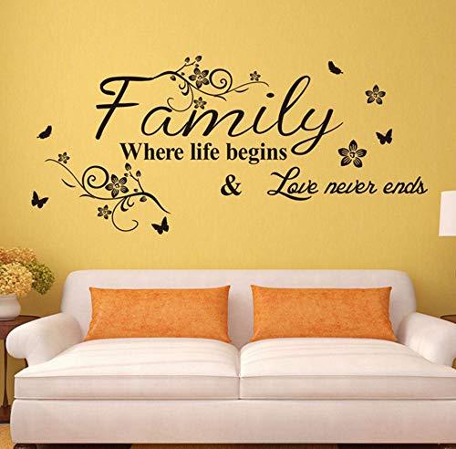 Xzfddn love family where life begins love never ends adesivi murali smontabili parlor vinile arte camera da letto home decor murale decalcomania