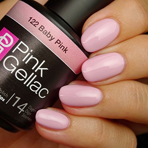 Vernis à ongles Pink Gellac 122 Baby Pink. 15 ml gel Manucure et Nail Art pour UV LED lampe, top coat résistant shellac
