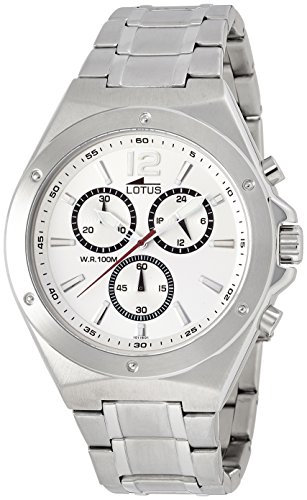 Lotus Men's Quartz Watch with White Dial Chronograph Display and Silver Stainless Steel Bracelet 10118/1