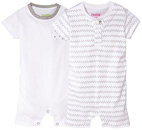 LUPILU® 2 Mädchen Baby-Schlafanzüge, kurz (weiß, grau - Zackenmuster, Gr. 62/68)
